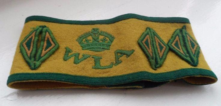 RARE Original WW2 Women's Land Army Green Armlet 6 Years Extra Diamond Markings