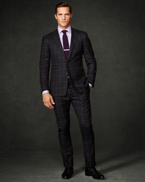 Drake Windowpane Wool Suit - Purple Label Men's Designer Sale - RalphLauren.com