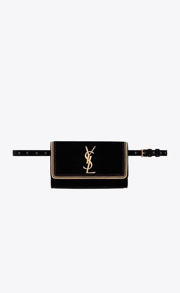 f96a448d6 SAINT LAURENT Belt Bags Woman Kate belt bag in black velvet with gold  passementerie a_V4