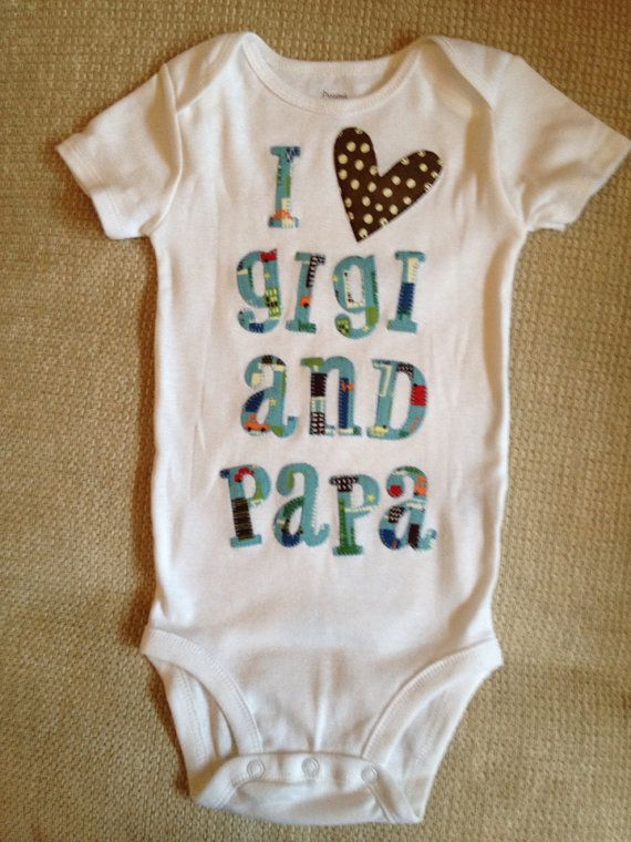 I heart Gigi and Papa blue and brown appliquéd baby onesie on Etsy, $20.00