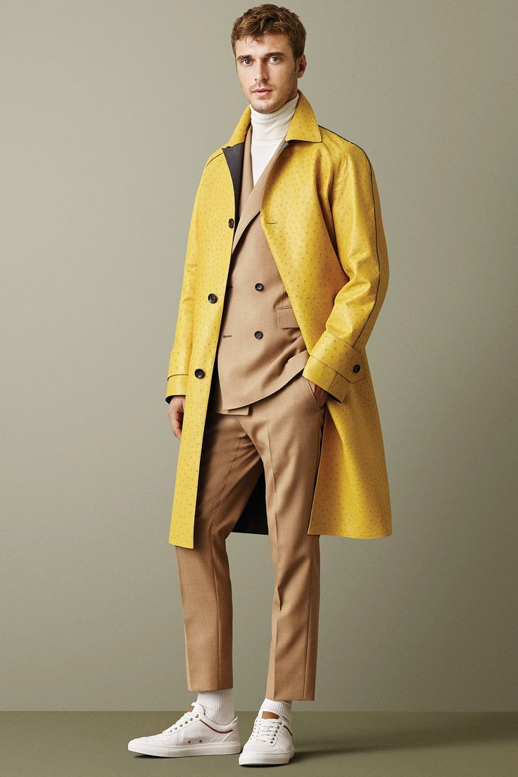 Bally Fall 2015 Menswear* Jade says I like this look. Men need color in clothes just like women.  A person should choose their color by tone of their skin. For years I could not wear yellow and now I have aged yellows looks great with my skin tone.