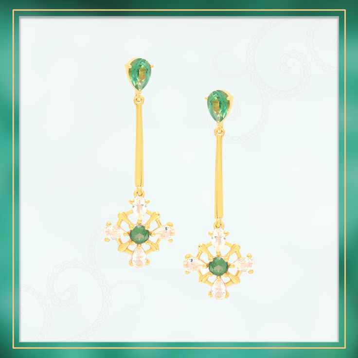 A scintillating pair of danglers set in Gold Plated Sterling Silver featuring gorgeous Tsavo Green Topaz | Shipping across India