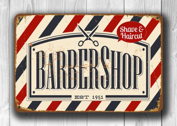 Barber shop Sign Vintage style Aluminum Composite Metal Barber shop Sign, barber…