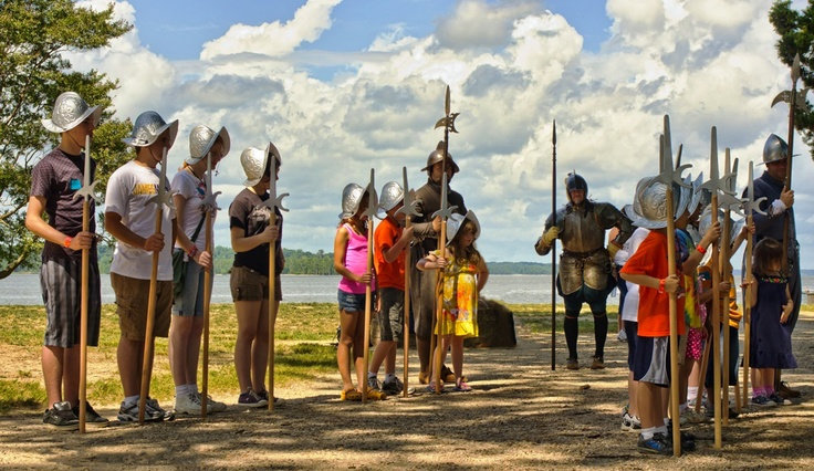 Young visitors are sometimes mustered into a militia drill at Historic Jamestowne.