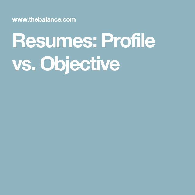 27 best Professional Tips images on Pinterest Writing a cover - resume profile vs resume objective