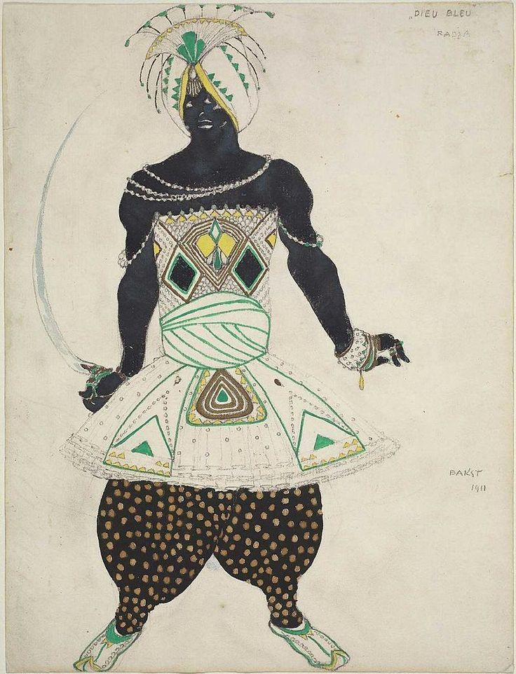 "Le Dieu Bleu by Bakst 09.jpg Эскиз для постановки ""Синий бог"" Райнальдо Гана. 1912 Radja (Costume Design for ""Dieu Bleu"") Boston Museum."