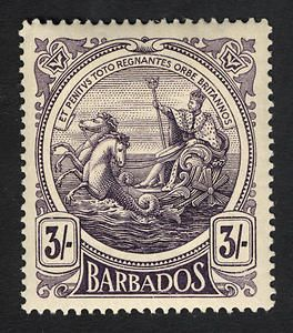 Barbados, 3sh, 1916 : : Seal of the (British) Colony featuring King George V on his sea-borne chariot.