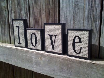 Love Wooden Block Vintage Book Paper Set
