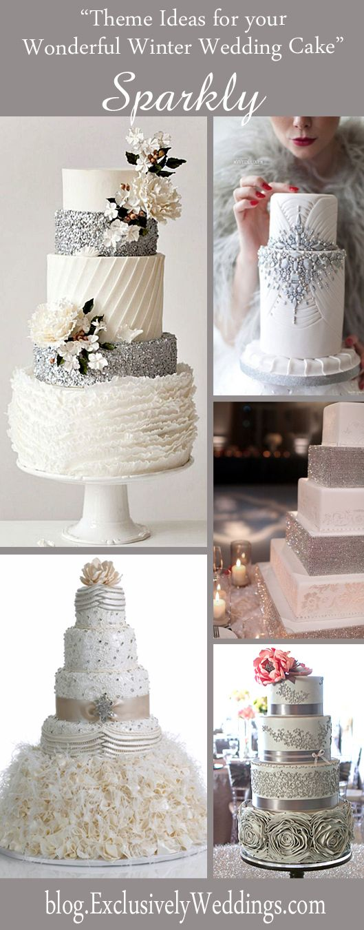 Five Theme Ideas for Your Wonderful Winter Wedding Cake Sparkly Winter Wedding Cake