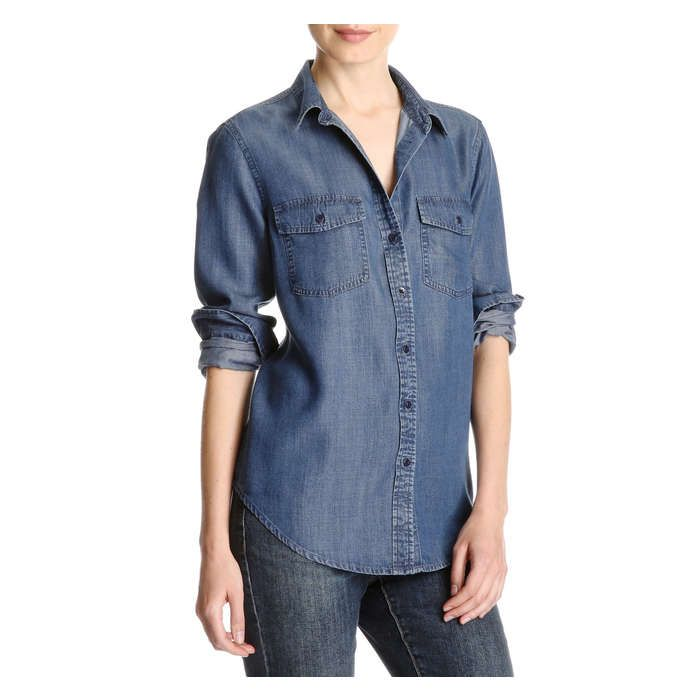 Twill Button Down Shirt from Joe Fresh. Lightweight, easy-care Tencel® puts a…