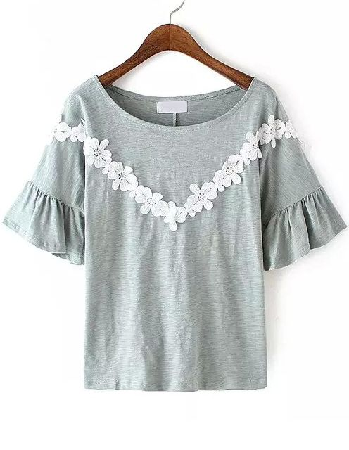 Grey Bell Sleeve Lace Loose Blouse 14.33