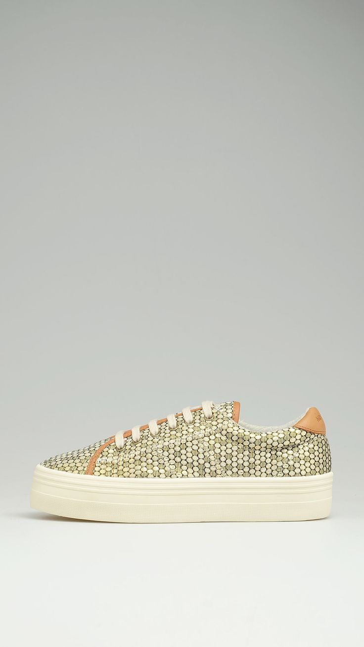 Sneakers featuring golden hexagonal pattern and contrast leather trim, lace closure, heel height 1.6'', rubber sole.