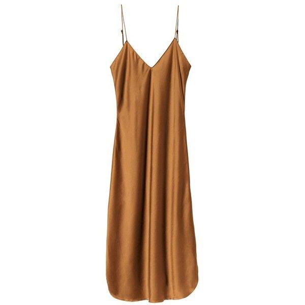 COGNAC SHORT CAMI DRESS (1.705 BRL) ❤ liked on Polyvore featuring dresses, brown dresses, slit dresses, v neck cami, short dresses and silk cami