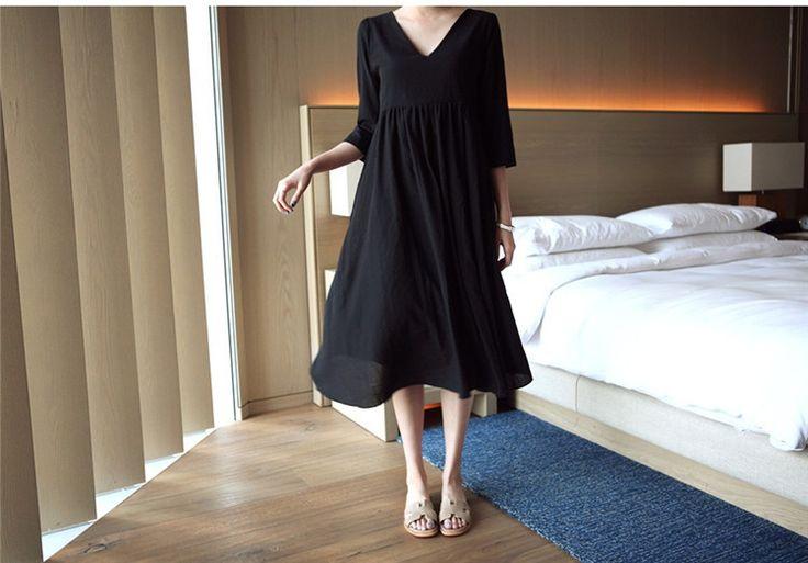 ワンピース - ワンピース・ドレス - 2wayバック魅せVネック7分袖ハイウェスト切り替えロング丈着痩せ棉痲フレアワンピース♪