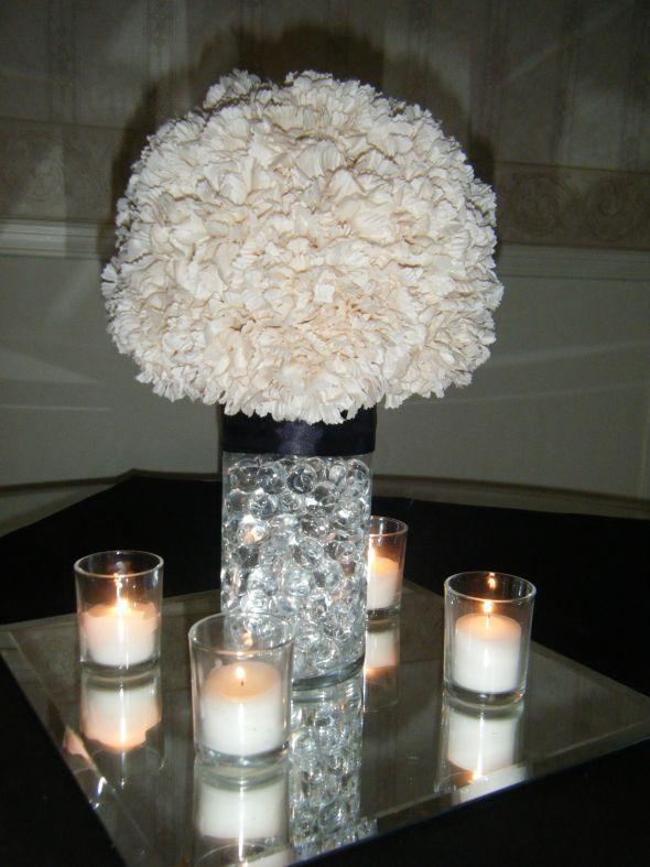 Bre2Be's Carnation Pom Centerpieces :  wedding carnation pomander water pearls Centerpieces 005