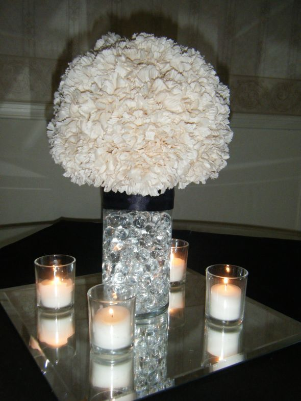 Bre2Be's Carnation Pom Centerpieces :  wedding carnation pomander water pearls Centerpieces 005