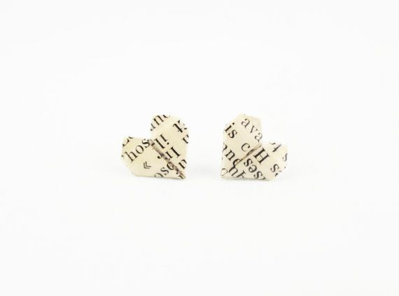 Origami Heart Earrings, Upcycled Book Jewelry, Origami Jewelry, Literary…