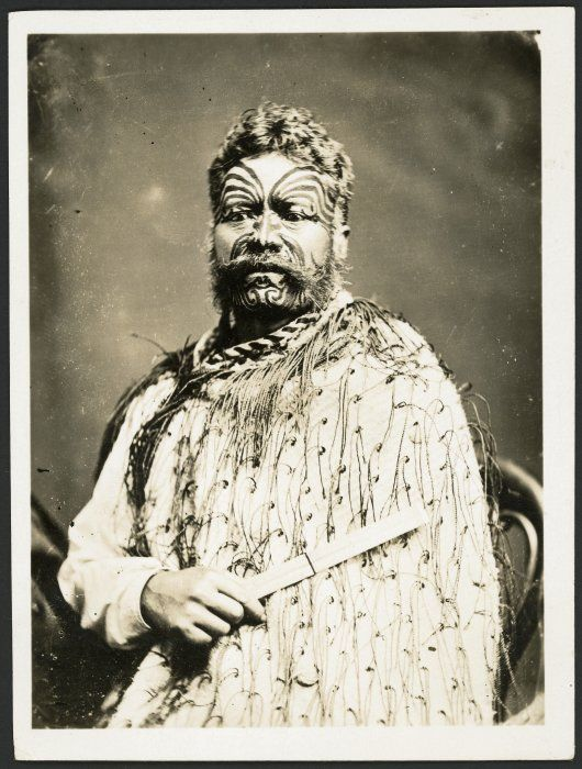Hami Te Hau, [between 1870 and 1890] wearing a korowai (tag cloak), photographed probably by Samuel Carnell of Napier.