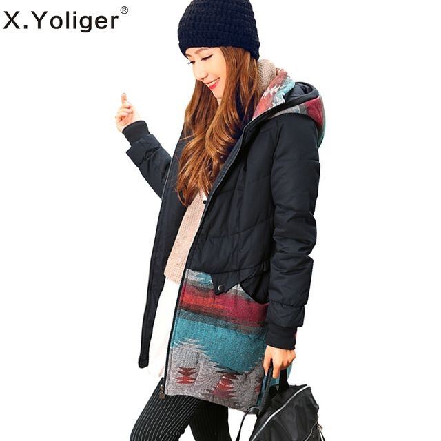 X.Yoliger patchwork with a hood cotton-padded jacket medium-long thickening women's wadded jacket 344014 US $49.00 /piece click link to buy http://goo.gl/J5cLYE