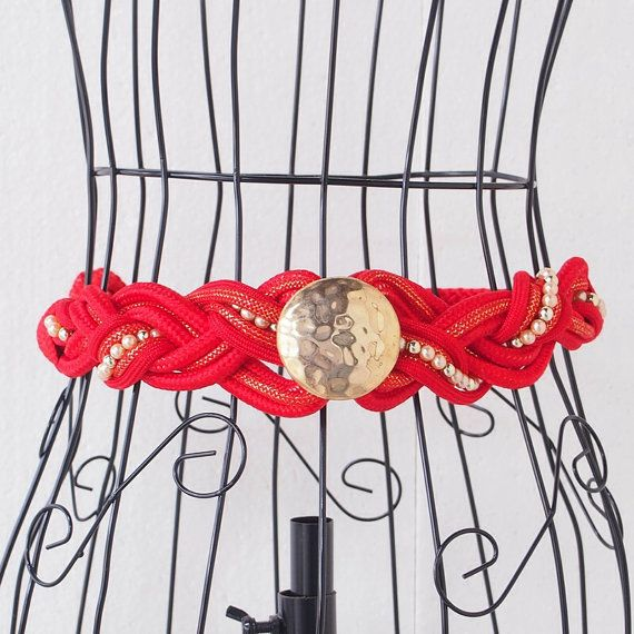 RARE Vintage Belt RedGoldNacre Knotted 1980s Awesome / by LPSNUG