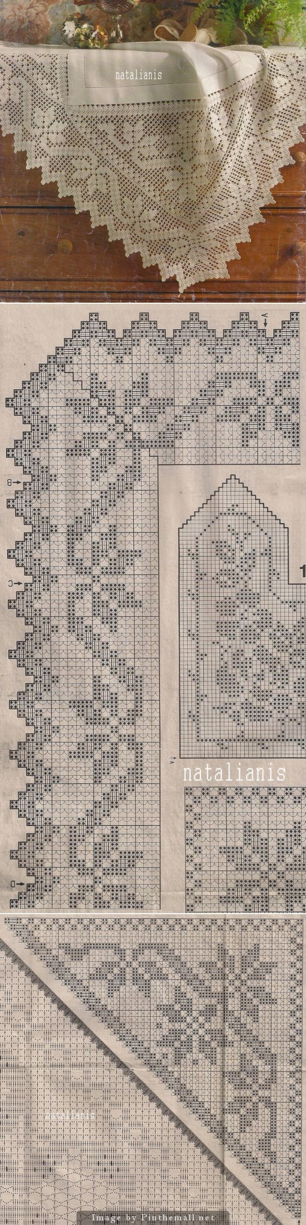 Filet crochet edging, edging's corner, corner insert ~~ http://natalianis.livejournal.com/