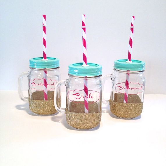 Bride and Bridesmaid Tumblers - Mason Jar Tumbler - Bride and Bridesmaid Cups,  wedding party glasses, Bride Gift, Bridesmaid Gift on Etsy, $15.00