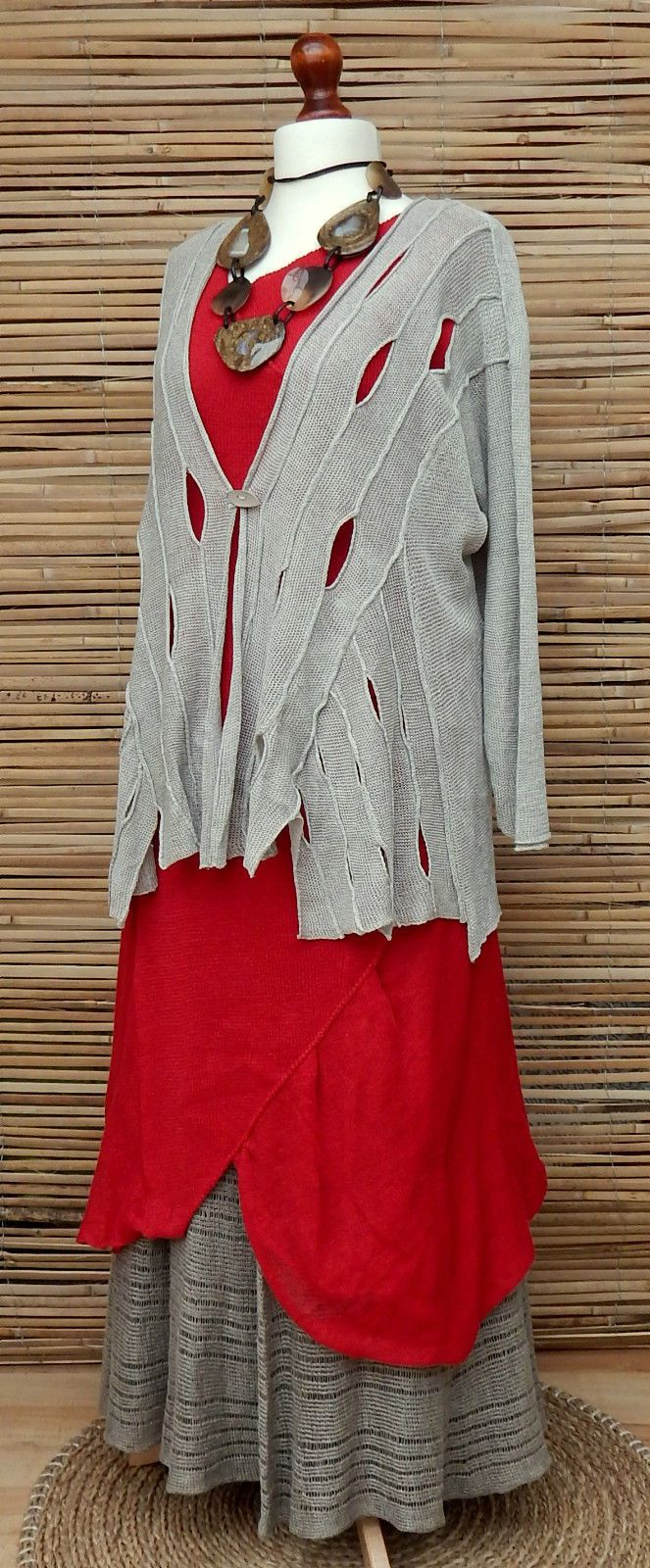 """100% Knitwear Pure Linen. Zuza Bart . Beautiful Cardigan. Stunning Quirky. Length Cardigan: 29"""". Lag enlook Amazing Oversize. Armpit to Armpit: 28"""". Fastening On One Button. 