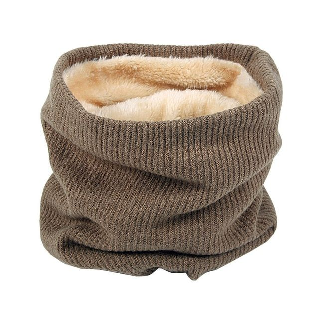 New Winter Scarf Faux Fur Knit Neck Warmer Thick Circle Loop Scarves Men Women