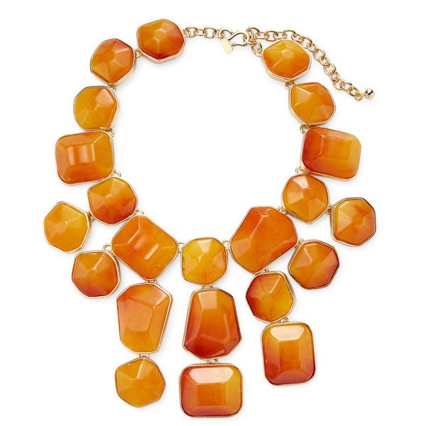 Kenneth Jay Lane Women's Amber Nugget Drop Bib Necklace - Orange ($209) ❤ liked on Polyvore featuring jewelry, necklaces, orange, orange necklace, long necklace, kenneth jay lane, bib jewelry and orange jewelry