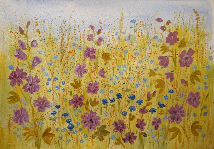 Summer Flowers.modern contemporary art wildflowers. artist Janet Davies