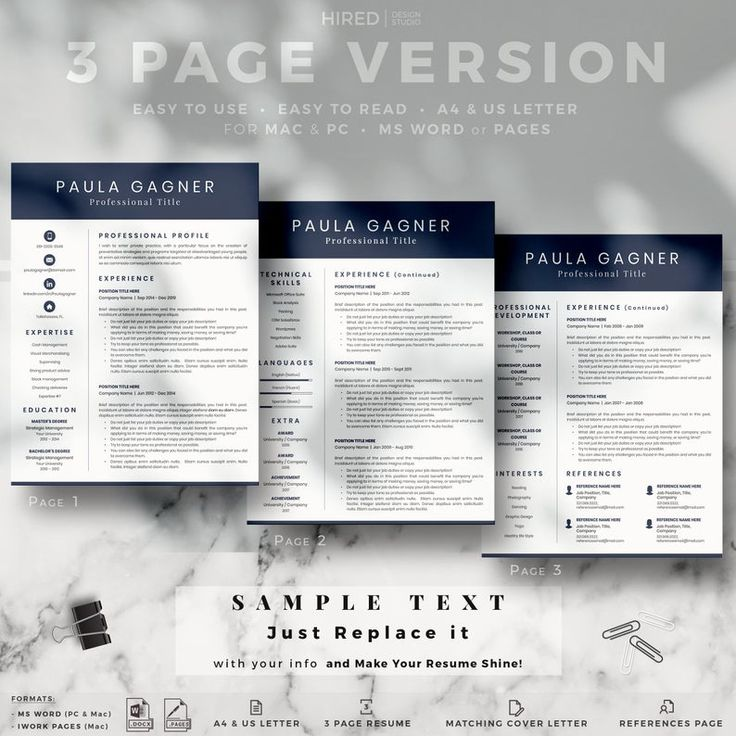 Professional Resume Template, CV Template and Cover Letter