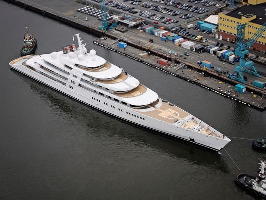 The world's largest superyacht has been launched. At 590 feet, this superyacht ousts the Eclipse, Roman Abramovich's 536 yacht which was the largest superyacht in the world until now. Follow @y_uribe for more pics.