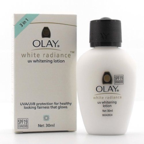 Olay White Radiance UV Whitening Lotion 30ml by Olay. $14.53. UVA/UVB protection for a healthy looking fairness that glows. Corrects - Olay Whitening Complex with Vitamin B3 that helps reduce appearance of dark spots & visibly lightens skin. 30 ml. Protects - SPF 24 that protects from UVA/UVB rays and helps avoid skin from becoming dull and dark again. Enhances - Skin-nourishing Vitamins to help enhance skin's natural radiance from within, and keep you fairer, for longer.. Ol...