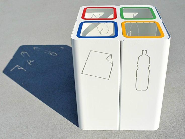 Cubo de basura en acero para recogida selectiva MINILLERO by CITYSI   diseño GIBILLERO design
