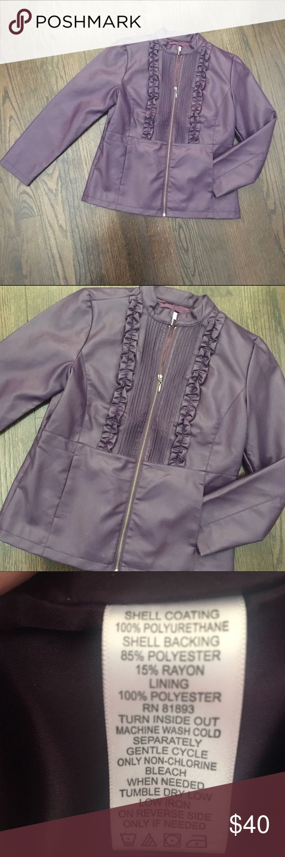 NWOT Susan Graver Faux Leather Purple Jacket Brand new, new worn. Susan Graver faux leather jacket with ruffle detail. Dark purple. Fully lined. Front pockets. Zip closure. Size XS, but it runs big and fits like a size Small/4-6. Susan Graver Jackets & Coats