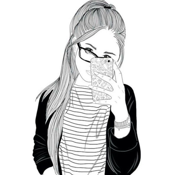 black and white, drawing, follow, girl, outline, outlines, smartphone, tumbkr
