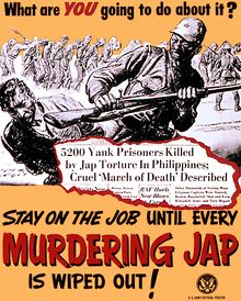 News of the Bataan Death March sparked outrage in the US, as reflected in this poster. http://en.wikipedia.org/wiki/Bataan_Death_March