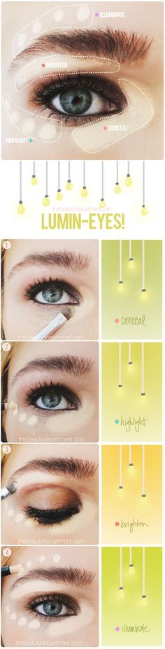 Own highlighter and concealer? Here's how to use them to brighten your eyes. #makeup #conceal
