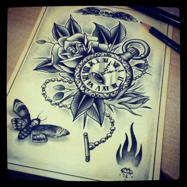pocket watch rose and moth tattoo design drawing by mr curtis at ink. Black Bedroom Furniture Sets. Home Design Ideas