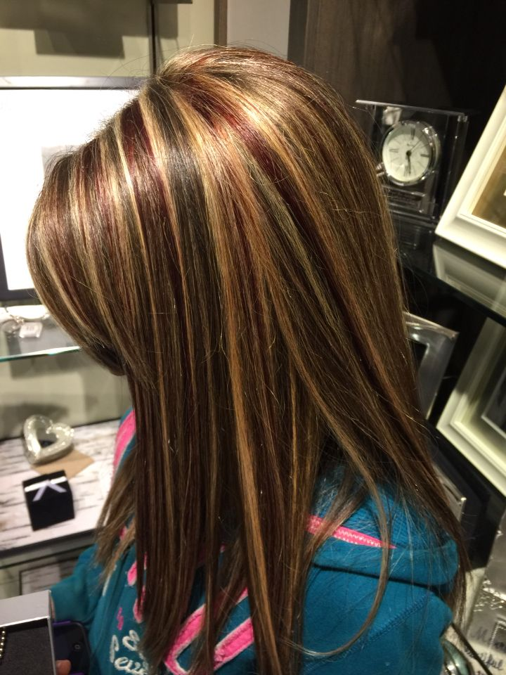 Just got red low lights and blond highlights an my natural brown hair