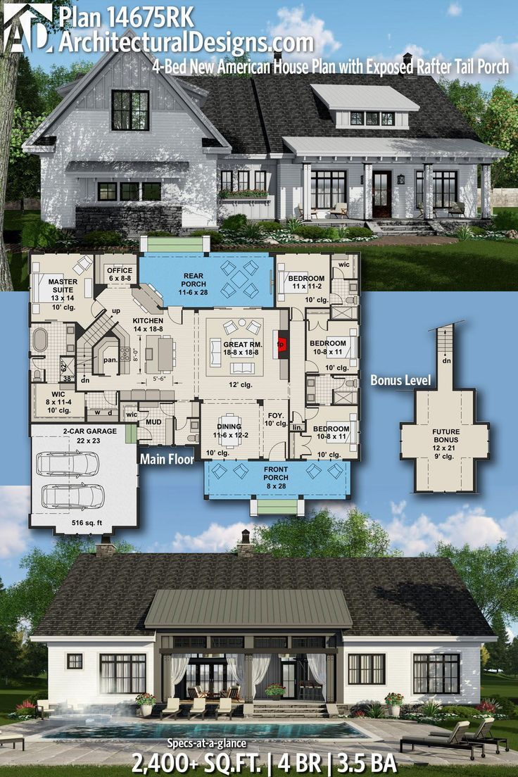 Plan 14675RK: 4-Bed New American House Plan with Exposed Rafter Tail Porch