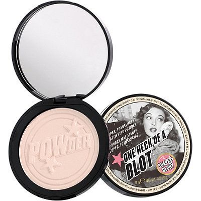 Soap & Glory One Heck of a Blot $16 : Amazing, addictive, invisible - Soap & Glory's One Heck of a Blot is an oil-absorbing, shine-controlling face powder for all skin types. The secret to perfect, shine-free skin is this super-translucent mattifying powder. It offers world-class shine control and oil-absorption, is lightweight, and gives