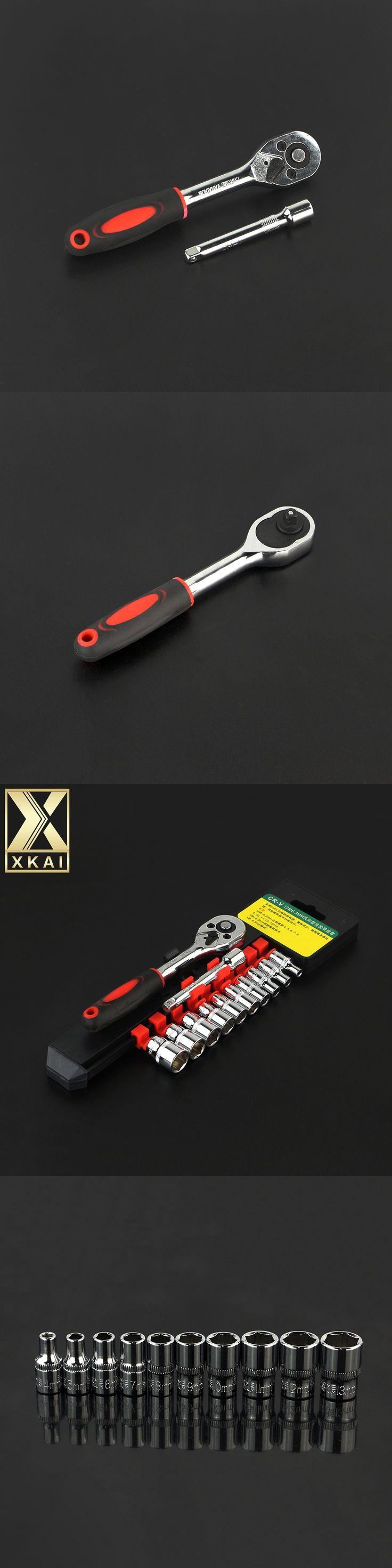 "XKAI 12 pieces 1/4"" 4-13mm Socket Wrench head metric socket set kit bolt hexagon allen torque wrench with Rubber handle tools"