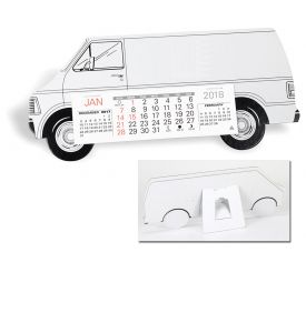 Product: 7D208 Desktop Truck Calendar, Long Van Basic custom imprint setup & PDF proof included! Make your company stand out from the fleet with this die cut Long Van cardboard desk calendar. Perfect promotional calendar for delivery & service companies utilizing vans for their company vehicles. Warwick / 425