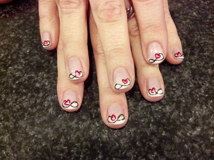 Infinity heart nail art