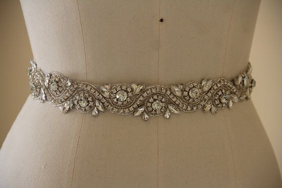 ***The all the way around style bridal belt is made of clear crystals and sparkly beads, could be matched with satin ribbon, which color could be