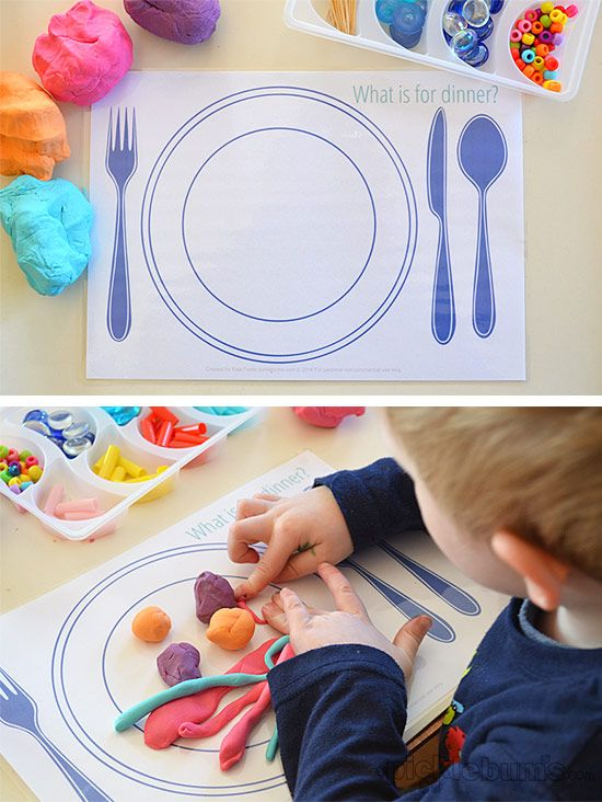 Fun Food! Free Printable Play Dough Mats (They make great place mats too!) There are 3 mats to print - Wha's for Dinner, Make a Cake and Make an Ice Cream Sundae