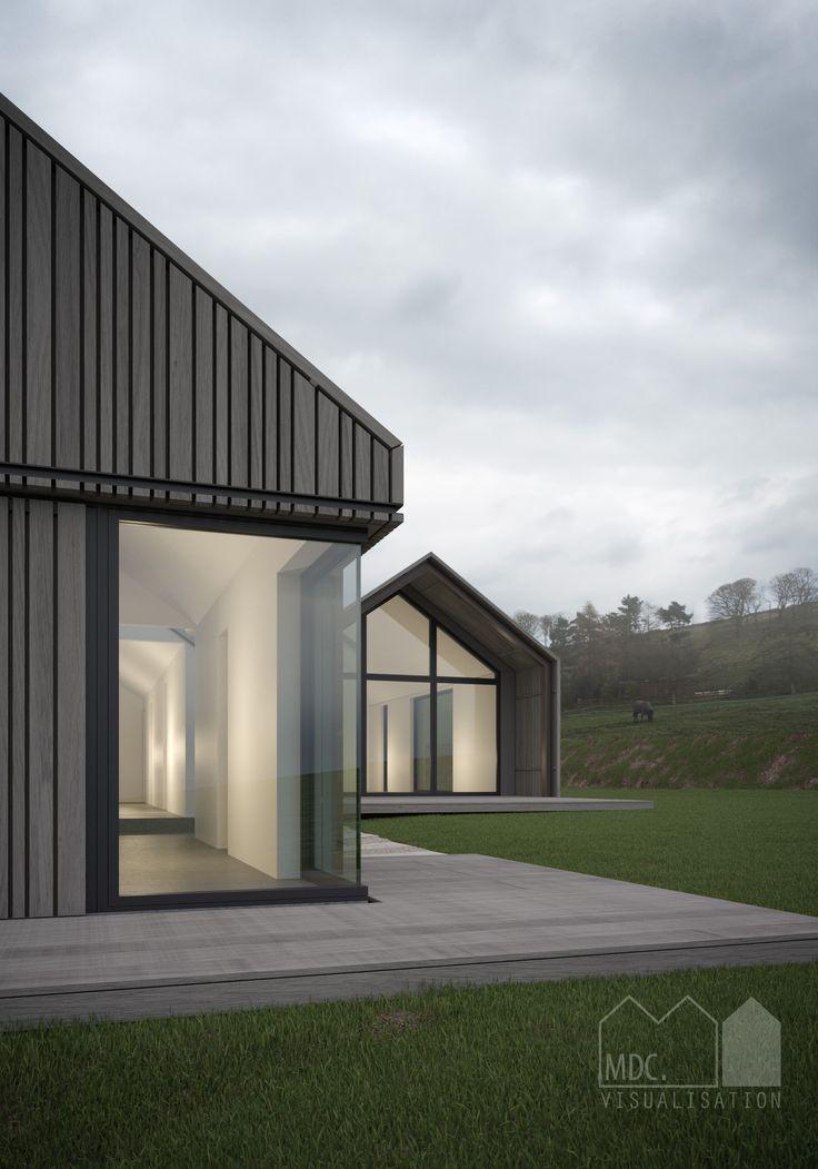 Visual by Matt Clayton. Cedar clad single storey house in the green belt. MSA…