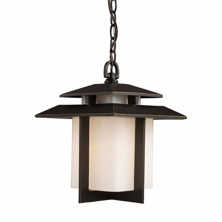 Elk Lighting Kanso 1 Light Outdoor Pendant In Hazelnut Bronze