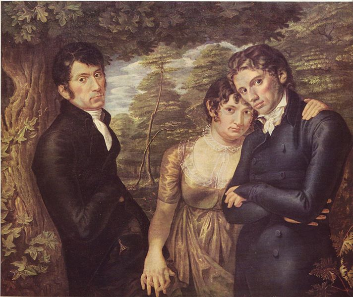 We Three (Philipp Otto Runge) Self-portrait of Philipp Otto Runge on the right, together with his wife  Pauline and his brother Johann Daniel Runge on the left.  1805.  Held in the former  Kunsthalle in Hamburg, until it was destroyed in 1931.